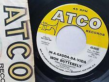 """IRON BUTTERFLY - In-A-Gadda-Da-Vida / Theme 1968 PSYCH ROCK 7"""" Atco"""