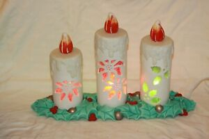 RARE-Ceramic-Mold-Christmas-Vintage-Candles-Light-Up-Electric