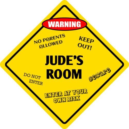 """*Aluminum* Jude/'s Room Kids Room Door 12/""""x12/""""  Metal Novelty Sign"""