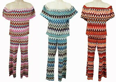 SIZE UK 8-14 LB208 CROCHET OFF SHOULDER TOP /& MATCHING TROUSERS FOREVAYOUNG