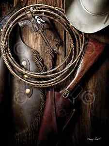 COWBOY ART PRINT Pistol Bit and Rifle (color) by Barry Hart 18x24 Gun Hat Poster