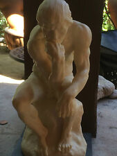 Vintage Thinker Man Muscles Nude Signed A. Santini Sculpture Statue Marble Base