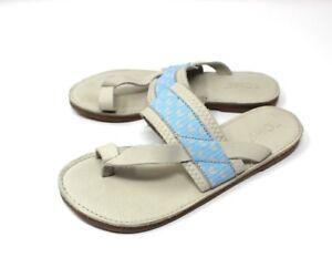 c18b08298af Image is loading Toms-Isabella-Dove-White-Blue-Color-Leather-Sandals-