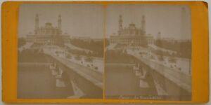 Parigi Trocadéro Pont Parigi Animato Foto Stereo Vintage Albumina c1880