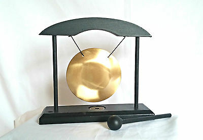 Table Gong - 8.5cm Dia Gong in Black Wood Frame & Beater - With Lucky Coin