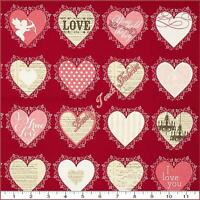 Riley Blake lost & Found Love C4202 Hearts Red Cotton Fabric Panel 17 1/2x44