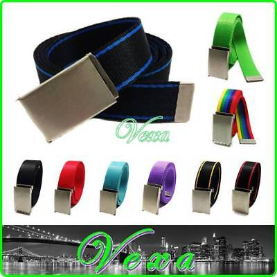 VEXA Mens Womens Webbing Trouser Belt RED All size Canvas Tape Buckle Made in UK