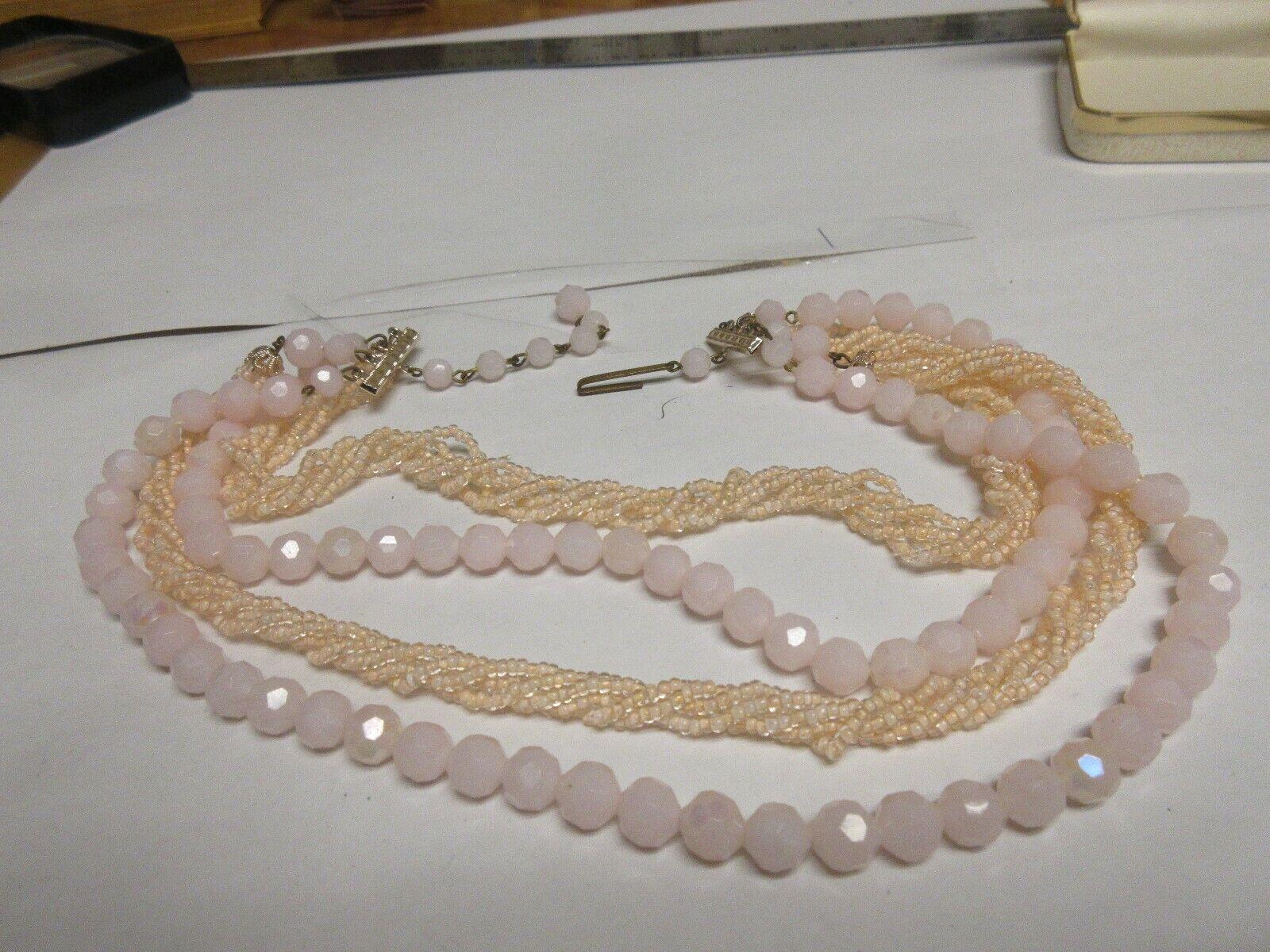 Costume Jewelry,Ladies Necklace ,Pink Rope /Stones ,4St