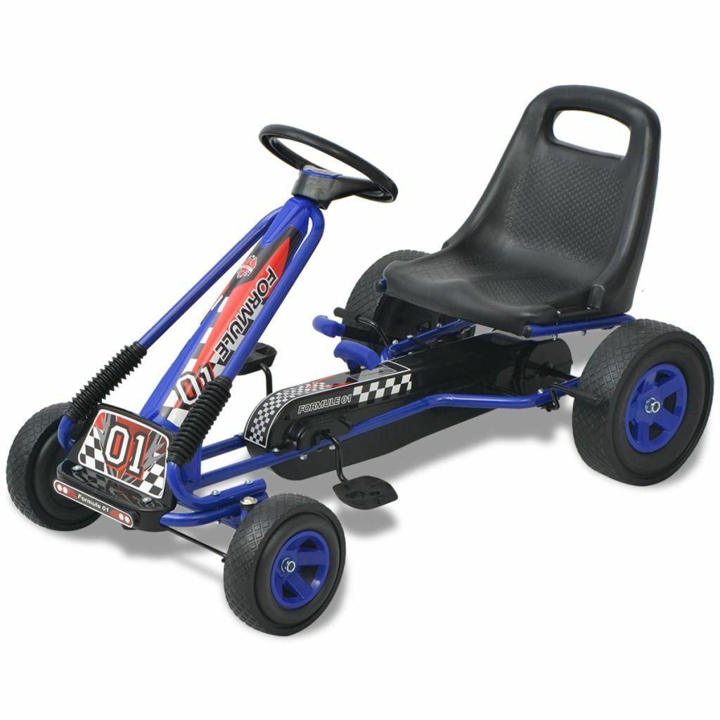 VidaXL Kart Pedales Ajustable de Niño Azul Coche Cart Go-Kart Juguete Infantil
