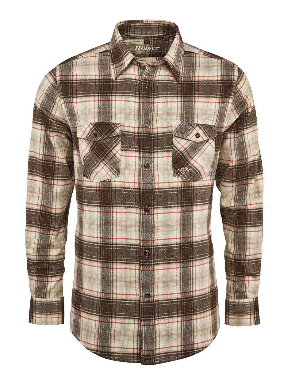 Blaser Twill Camicia Thomas - Classic - Beige Marroneekariert - 118062-087