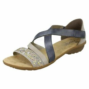 Ladies Rieker Strappy Sandals V3405 Blue