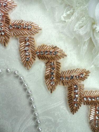"Leaf Trim Rose Gold Beaded Crystal Rhinestone Leaves Vine 1.75/"" DIY DH60"