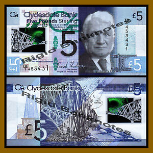 SCOTLAND 5 POUNDS 2015 P 229Na POLYMER CLYDESDALE BANK UNC