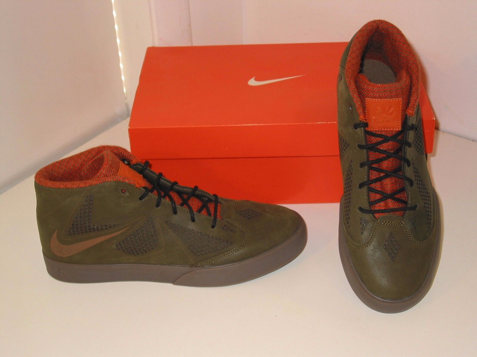 Nike Lebron X NSW Basketball Lifestyle Dark Green Brown Basketball NSW Sneakers Shoes Mens 8 1c9443