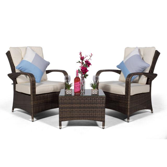 Rattan Garden 2 Seat Armchair Table Furniture Set Patio Sofa Outdoor Cushions