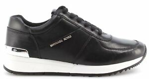 Scarpe-Donna-Sneakers-MICHAEL-KORS-Allie-Trainer-Leather-Nappa-Black-Nere-Nuove