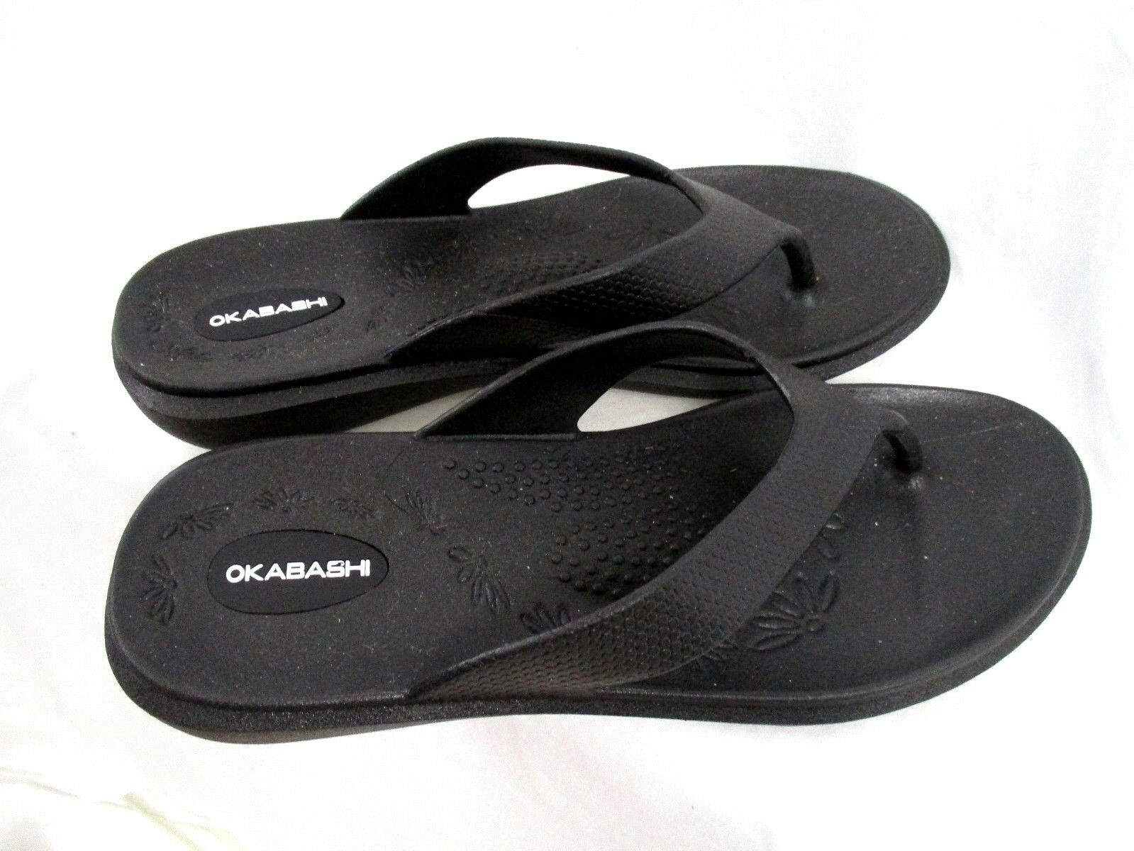 Okabashi Womens Black Ergonomic Sandals Flip Flops Slip On Size Medium FY6