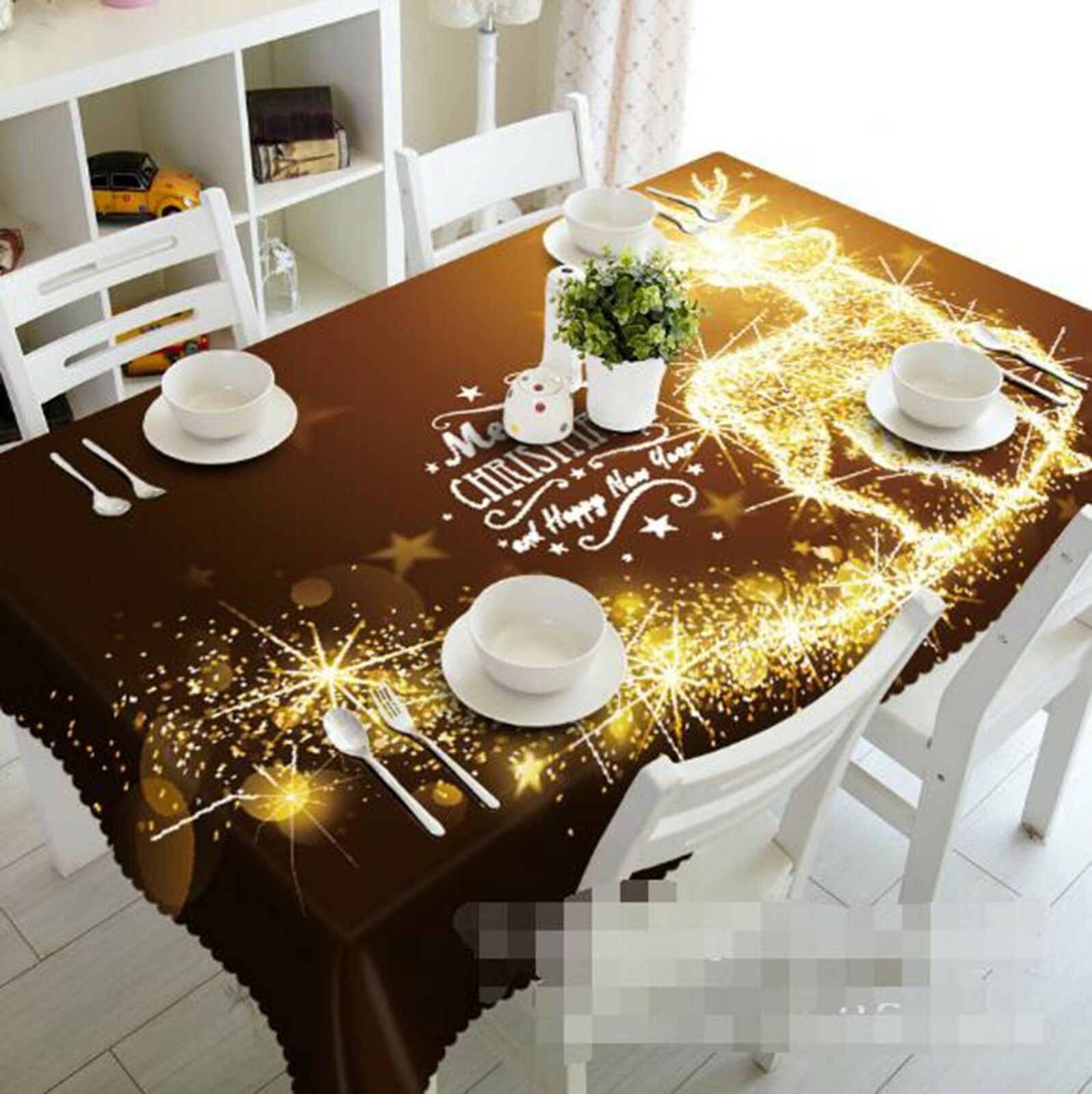3D Light Deer 37 Tablecloth Table Cover Cloth Birthday Party Event AJ Lemon