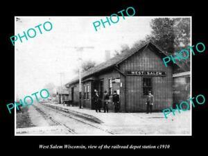 OLD POSTCARD SIZE PHOTO OF WEST SALEM WISCONSIN RAILROAD DEPOT STATION c1910