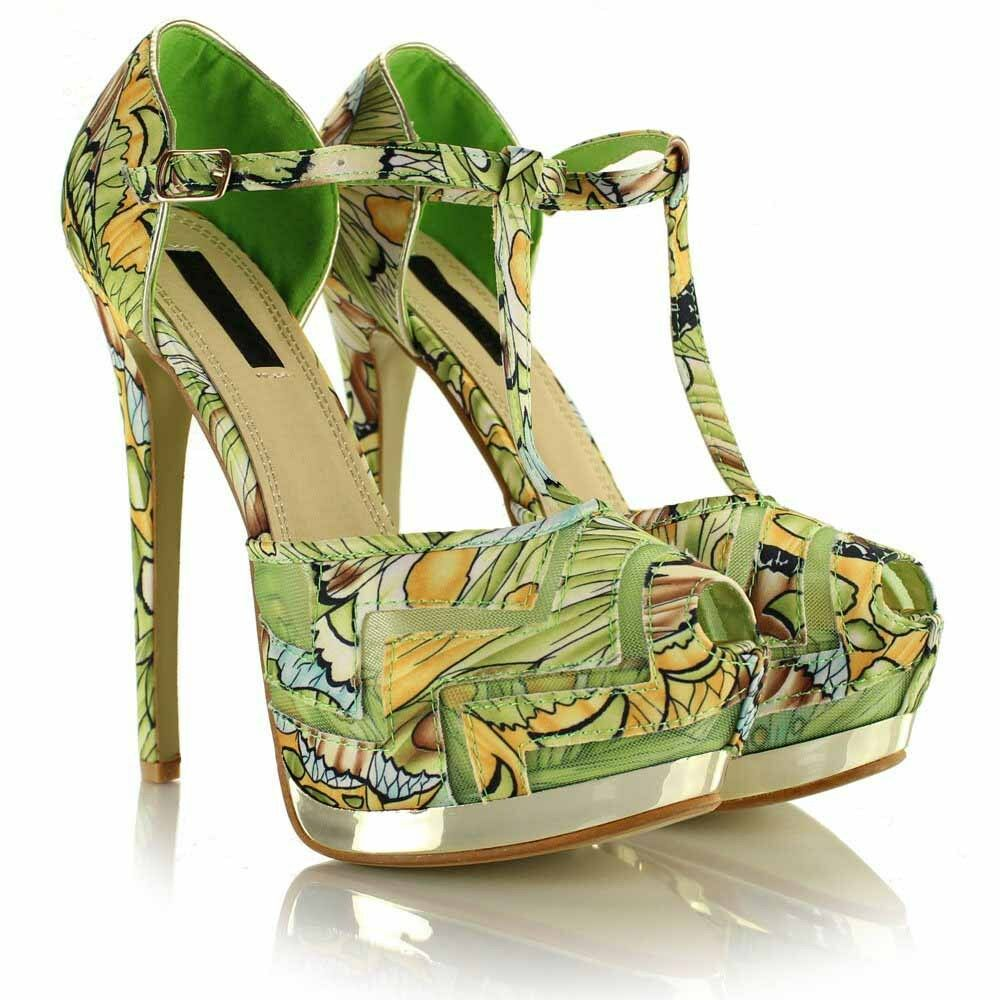 Ladies High Stiletto Heel Platform Peeptoe Sandals Strappy T Bar Floral Sandals Peeptoe Shoes 7db5e8