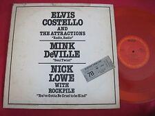 RARE DJ PROMO LP - ELVIS COSTELLO / MINK DEVILLE / NICK LOWE - COLUMBIA AS 443