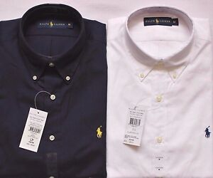 Ralph Lauren Custom Fit Cotton Poplin Short Sleeve Shirt White Navy RRP £100