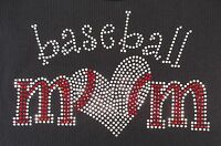Rhinestone Baseball Mom With Heart Iron-on Transfer, Tanktops, 9x5.5 Inches