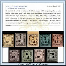 1859 Antichi Stati Romagne Serie completa n 1/9 Certificato Nuovi Integri ** ASI