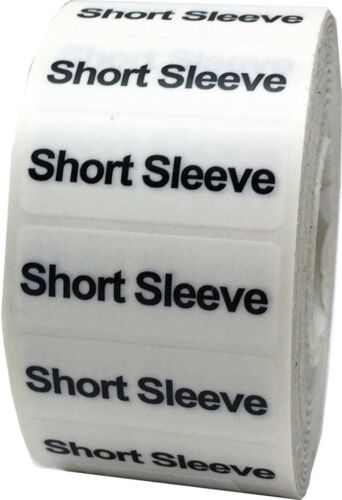 """Short Sleeve Clothing Size Strip Labels 1.25 x 5/"""""""