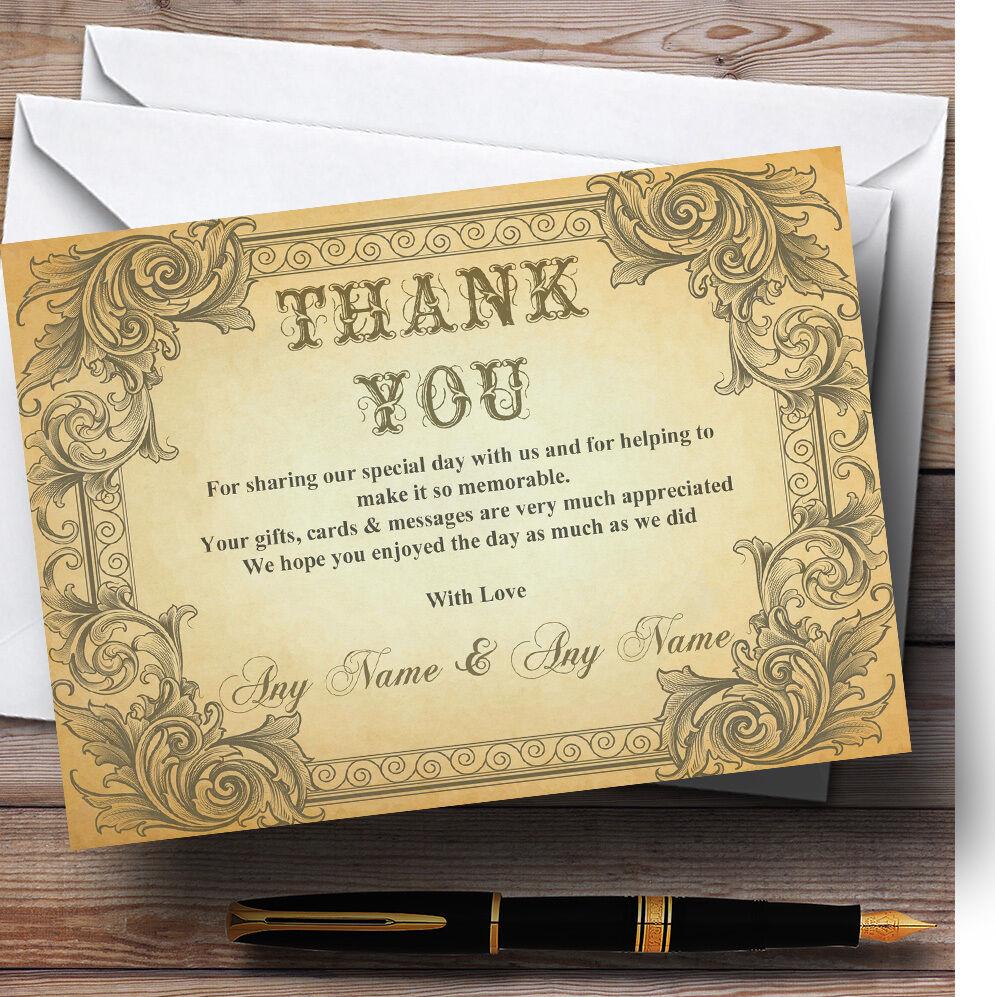Tipografía Vintage marrón Postal Personalizado Boda Tarjetas De Agradecimiento
