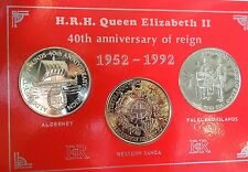 1992 Coronation Anniversary Aldernay £2 Western Samoa $1 Falklands 50p UNC