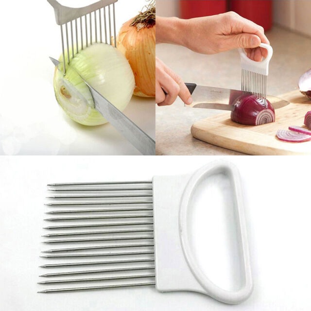 Stainless Steel Onion Slicer Vegetable Tomato Holder Cutter Home Kitchen Gadgets