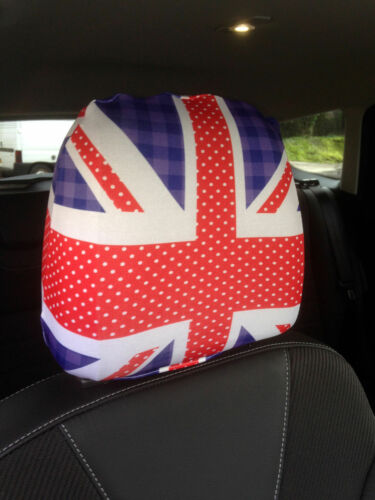Spotted Union Jack Design Car Seat Head Rest Covers Pack Of Two Accessory Gift