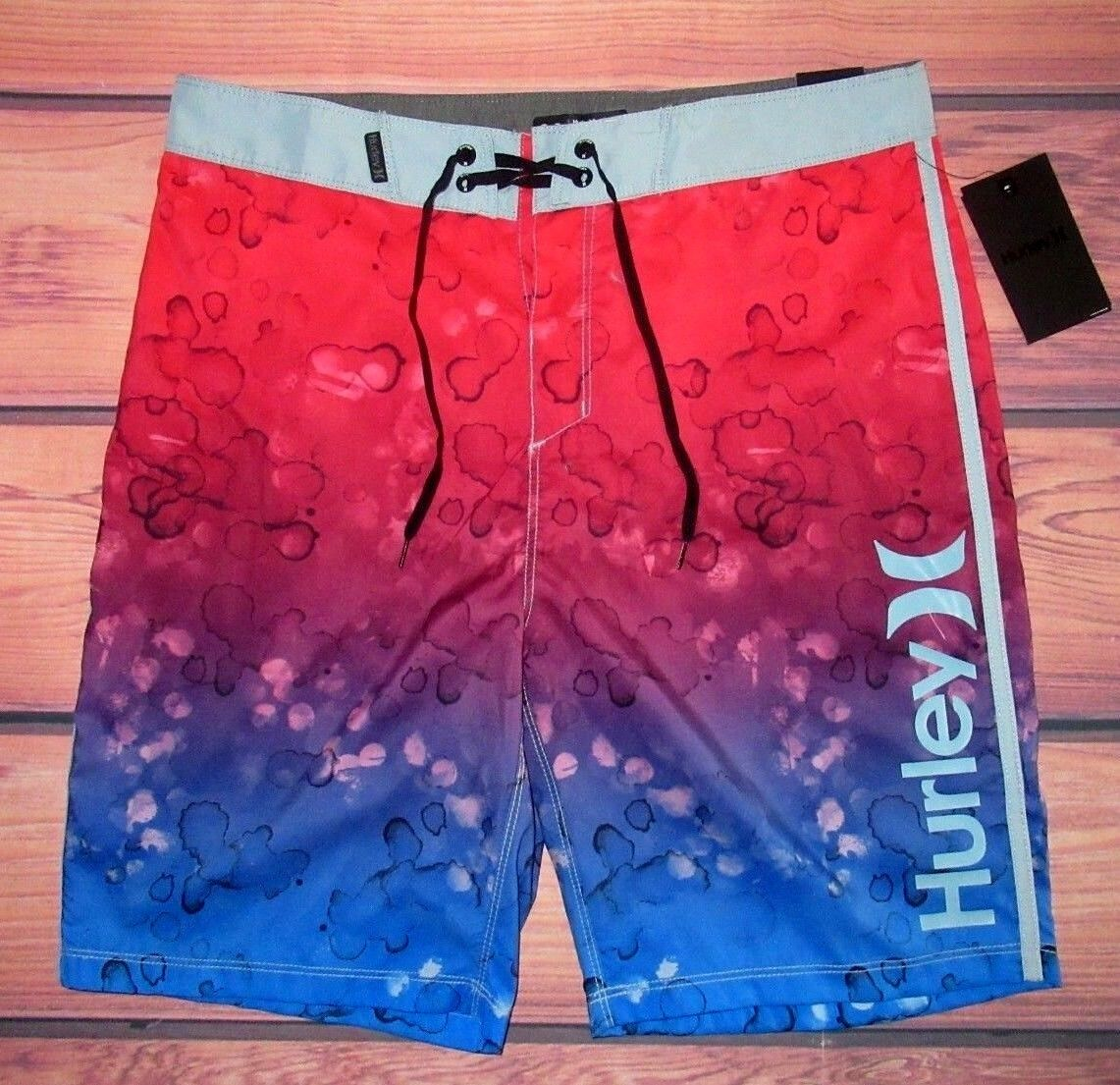 MENS HURLEY RED blueE SWIM BOARD SHORTS SIZE 36