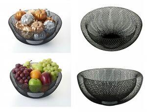 Noir Double Paroi Mesh Fruit Bowl Dinning Table Décoration Panier De Légumes 24 Cm-afficher Le Titre D'origine Une Grande VariéTé De Marchandises