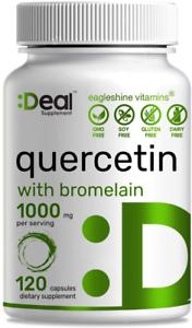 Quercetin Supplements - Quercetin with Bromelain 1000mg Per Serving, 120 500mg &