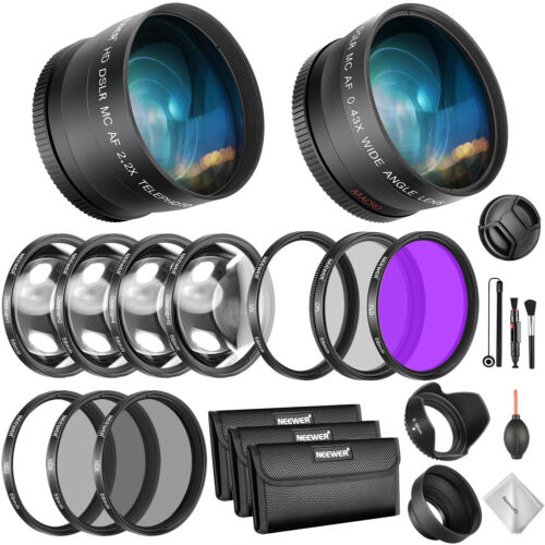 Neewer 58mm objetiva y filtros paquete lente gran angular teleobjetivo conjunto de filtros
