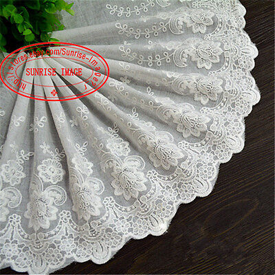 22cm, 1yard Delicate embroidered flower Cotton lace trim Sewing DIY Crafts FL171