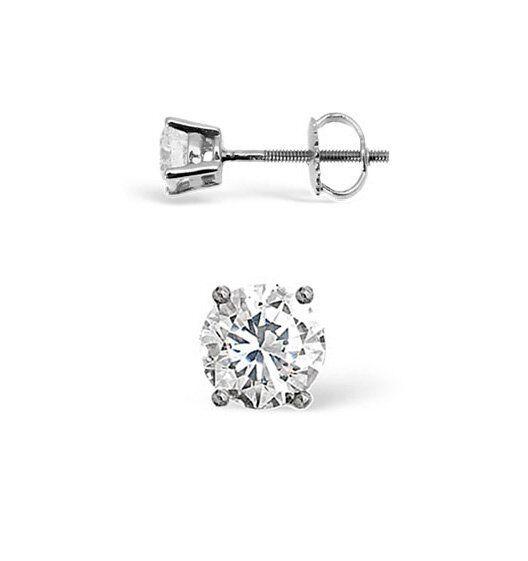 0.10ct Natural Round Cut Single Diamond Stud Earring 14K White gold Unisex Studs