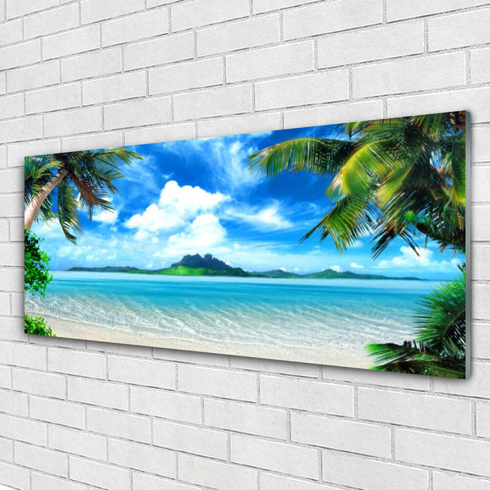 Tableau murale Impression sous verre 125x50 Paysage Paumes Mer
