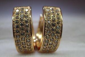 18K-Yellow-Gold-GF-32-stones-Lab-Created-diamond-15mm-Hoop-Huggies-Earrings