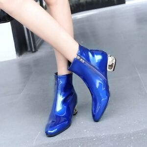 Patent-Leather-Women-Chelsea-Boots-Ankle-Square-Toe-Block-Heels-Chic-Zip-Shoes