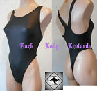 Ladies Black Leather Rebel Racer Thong Leotard Sexy 80's Hi Cut.Aerobics.Dance