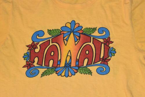VTG 1970s Hawaii Yellow T Shirt Boho Hippie USA So