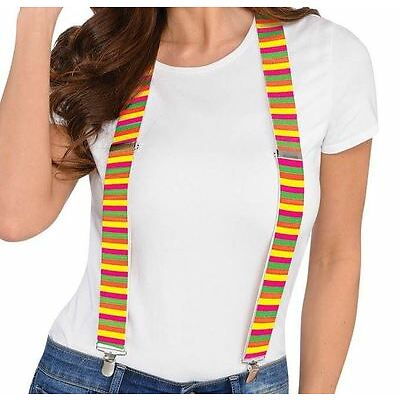 Neon Suspenders Festival Parade Party Fancy Dress Accessories