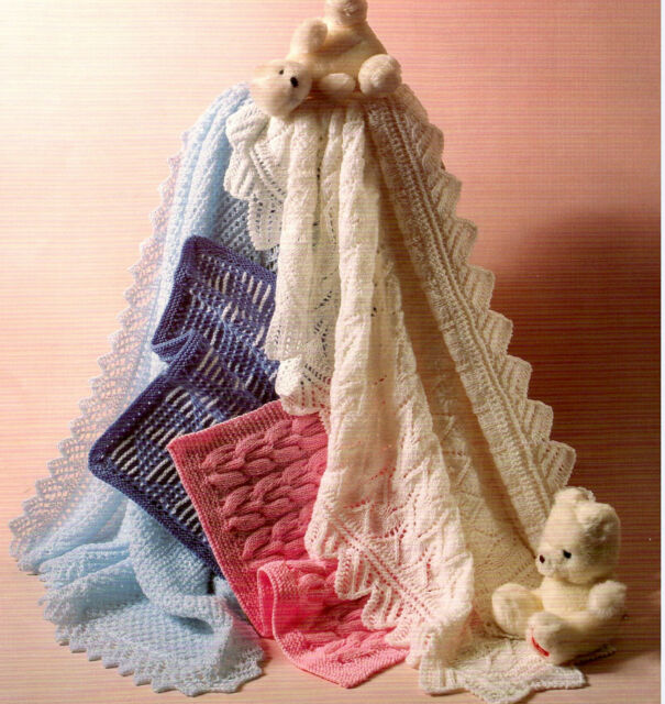 Knitting Pattern- Baby shawl and Pram covers in 4 ply all on 1 pattern