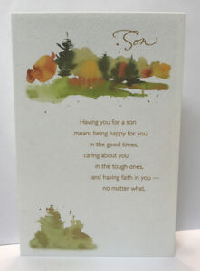 Son Happy Birthday From Mom Dad Watercolor Trees American Greetings Card Ebay