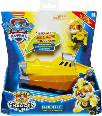 NEW PAW PATROL 6056874 Mighty Pups Charged Up Rubbles Deluxe Vehicle with Lights