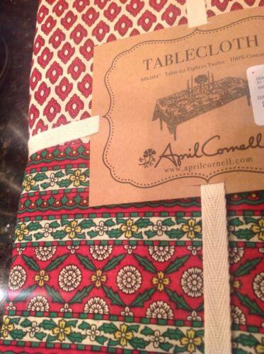 APRIL CORNELL TABLECLOTH 60 X 84 CHRISTMAS CREAM RED MEDALLION 100 /% COTTON NIP