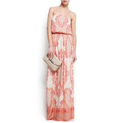 NEU Mango Kleid Maxi Paisley Muster Gr. S 36 weiß Rosa Boho Blogger schulterfrei